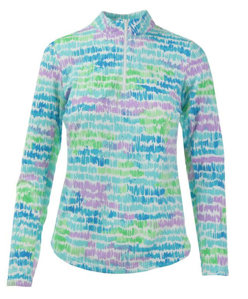 Icikuls ~ Mock Neck Long Sleeve Cooling Sun Shirt - Monet