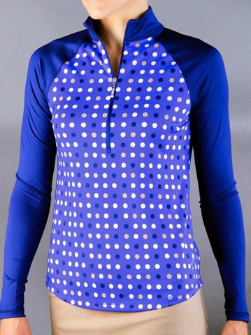JOFIT ~ Blue Hawaiian Long Sleeve Mock (Multi Dot)