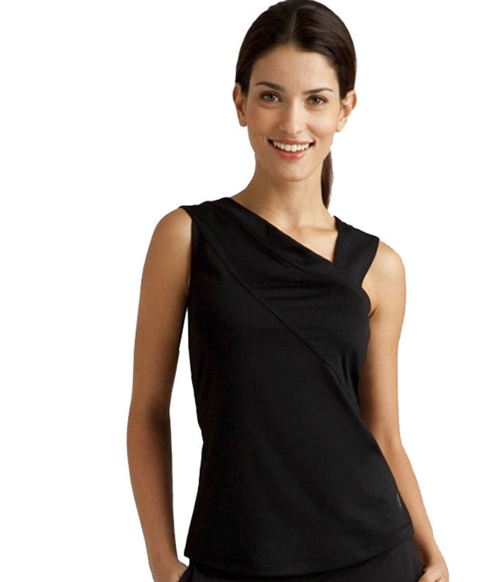 Jofit draped sash tank top in black