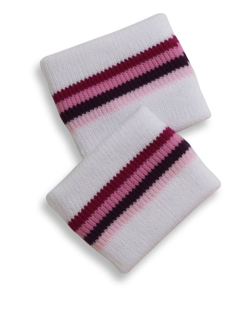Mary Martin Designs ~ Tennis Wristband in White w/pink Multi Stripe