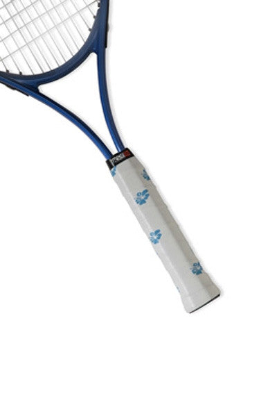 Tennis Racquet overgrip in bright blue and white hibiscus design