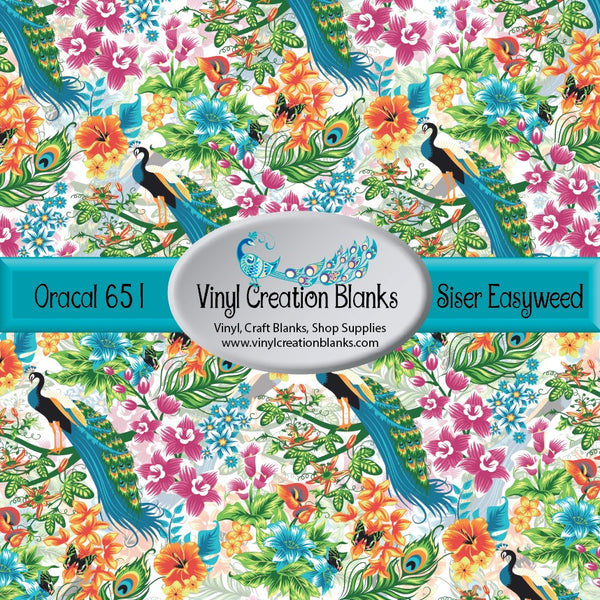 Beautiful Peacock Floral Vinyl