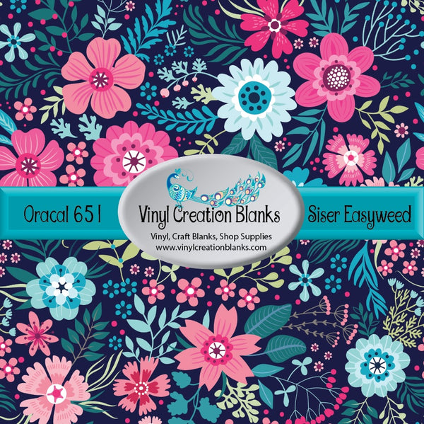 Bright Floral on Navy Vinyl
