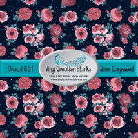 Coral Flowers on Navy Vinyl