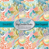 Peach and Turquoise Abstract Floral Vinyl