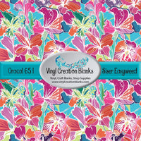 Pink and Orange Tropical Flowers on Aqua Vinyl