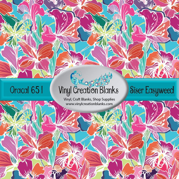 4' Roll of Pink and Orange Tropical Flowers on Aqua Vinyl