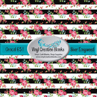 Pink and Red Roses on Black Stripes Small Pattern Vinyl