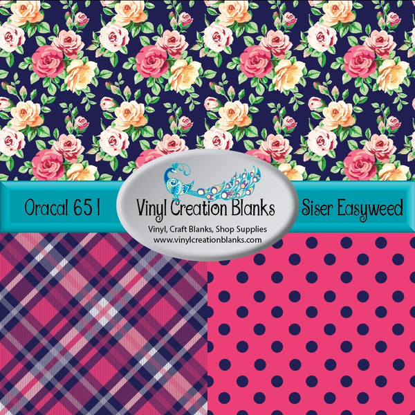 Pink and Yellow Roses on Navy Trio Vinyl