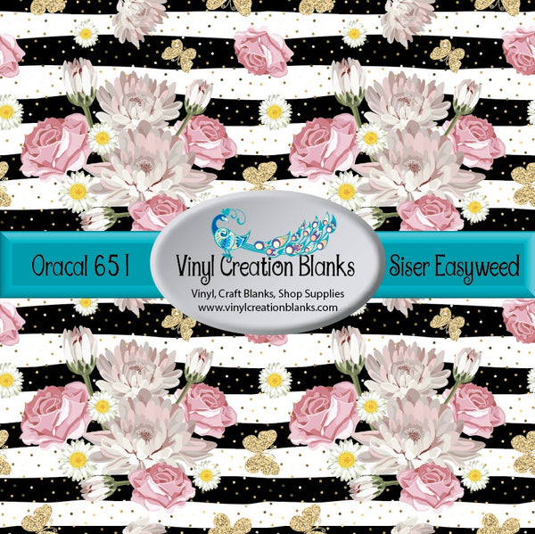 Pink Flowers on Black Stripes Vinyl