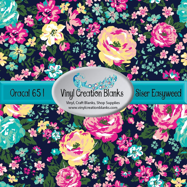 Pink Yellow and Blue Flowers On Navy Vinyl