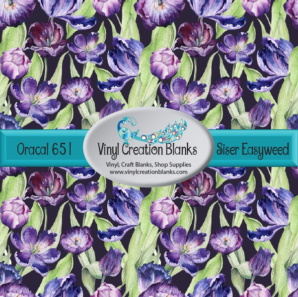 Purple Tulips on Deep Purple Vinyl