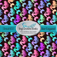 Colorful Mermaids Black Background Pattern Vinyl