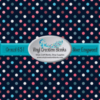 Multi Color Polka Dots on Navy Vinyl
