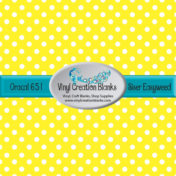 White Polka Dots on Yellow Vinyl