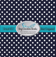 White Polka Dots on Navy Vinyl