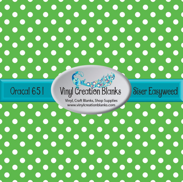 White Polka Dots on Spring Green Vinyl