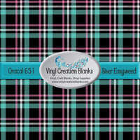 Aqua Black and Pink Plaid Vinyl