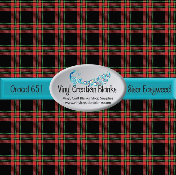 Black Red and Green Plaid Vinyl