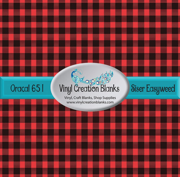 Bulk Medium Size Buffalo Plaid Self Adhesive Vinyl and Heat Transfer Vinyl (HTV) 4' by 1' Roll