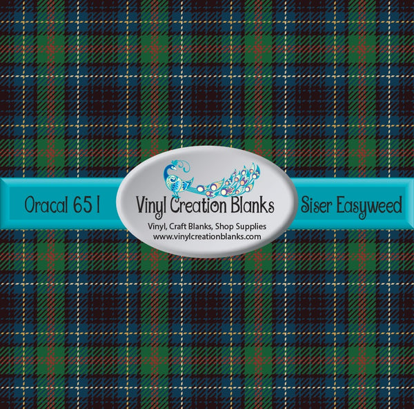 Green and Navy Plaid Vinyl
