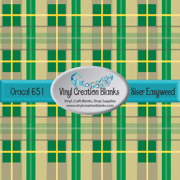 Green Yellow and Tan Plaid Vinyl
