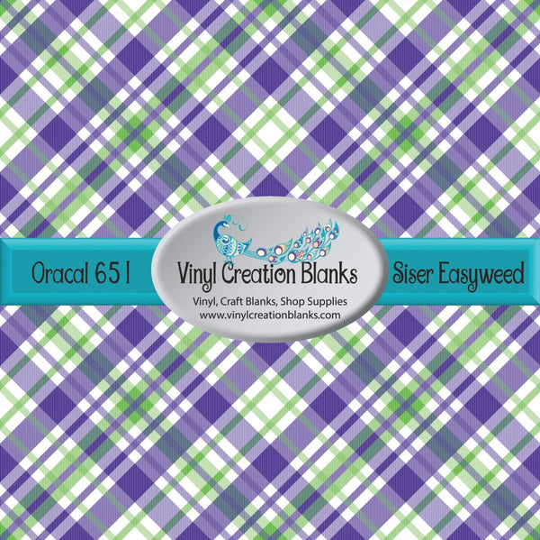 Purple Green and White Plaid Vinyl