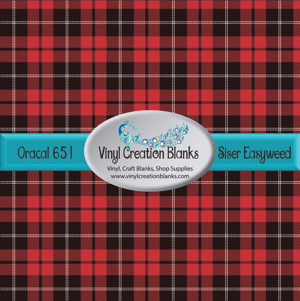Red and Black Plaid Vinyl
