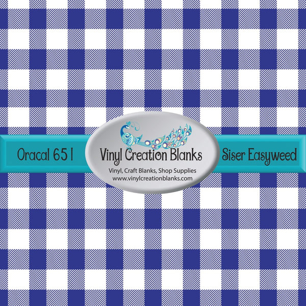 Royal and White Buffalo Plaid Vinyl