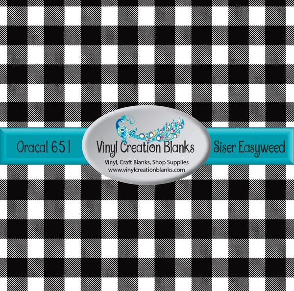 White Buffalo Plaid Vinyl 4' by 1' Roll