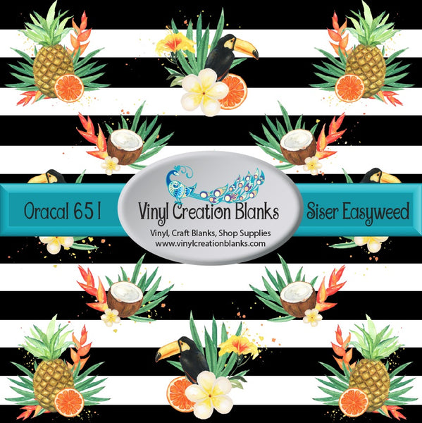 Tropical Black and White Stripe Patterned Vinyl