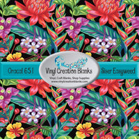 Bright Tropical Flowers on Black Vinyl