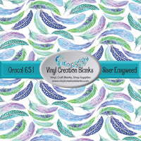 Green Blue and Purple Feathers Vinyl