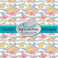 Pastel Flowers on Chalky Sea Glass Stripes Vinyl