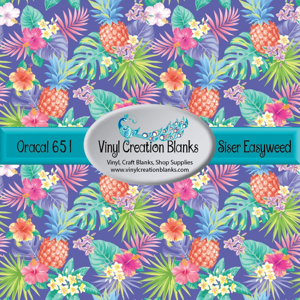 Tropical Floral on Light Purple Vinyl