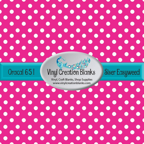 White Polka Dots on Bubble Gum Pink Vinyl