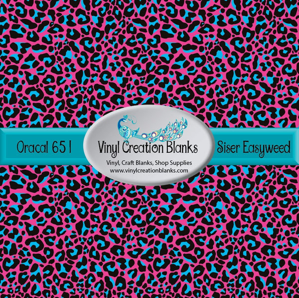 Pink and Green Leopard Pattern Vinyl