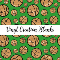 Court Pattern Basketballs on Green Vinyl