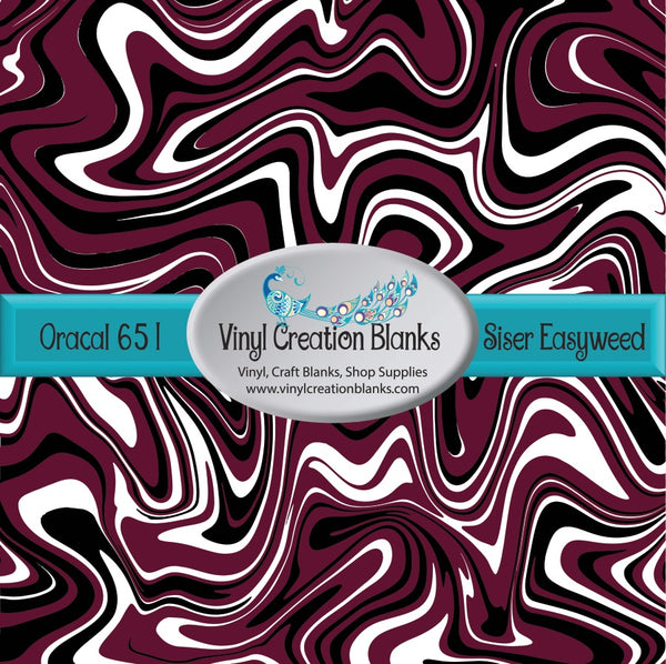 Maroon White and Black Swirl