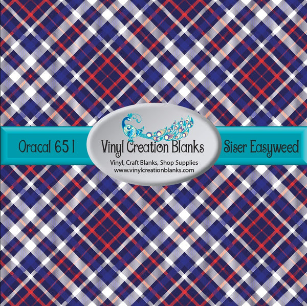 Red White and Blue Plaid Vinyl