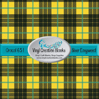 Yellow Black and Teal Plaid Vinyl