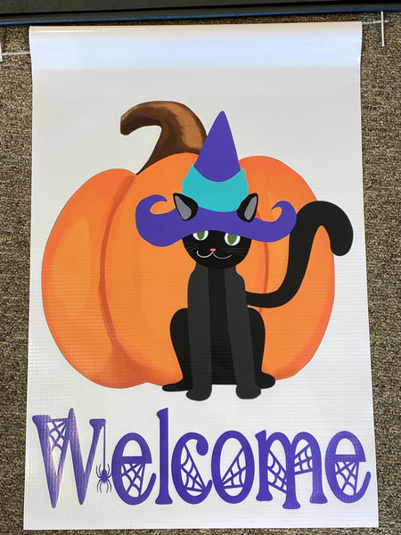 Welcome Witch Cat with Pumpkin Garden Flag