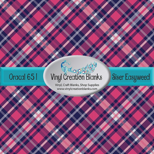 Hot Pink, Navy, and White Plaid Vinyl
