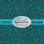 Aqua Glitter Cheetah Patterned Permanent Vinyl or HTV for all Vinyl Cutters