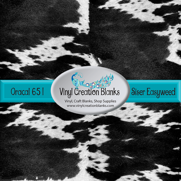 Black Cow Hide Patterned Permanent Vinyl or HTV for all Vinyl Cutters