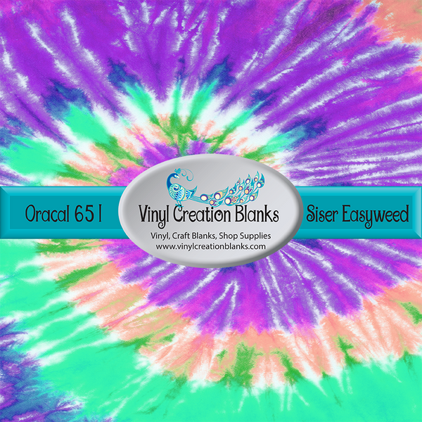 Mint Coral Purple Tie Dye Pattern Outdoor Vinyl or Heat Transfer Vinyl