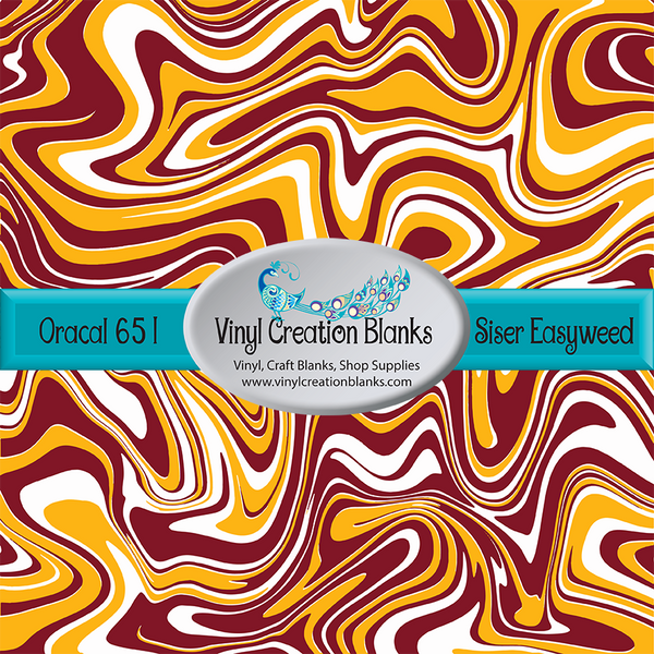 Athletic Gold Burgundy and White Swirl Patterned Permanent Vinyl or HTV for all Vinyl Cutters