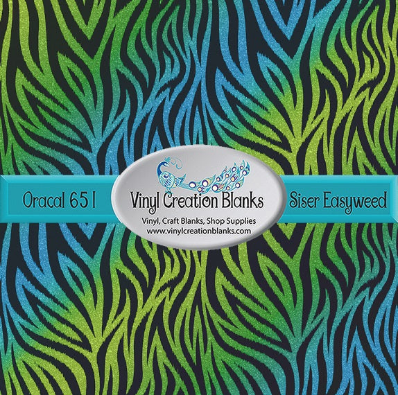 Tiger Stripes on Aqua Lime Gradient Faux Glitter Pattern Printed Self Adhesive Vinyl and Heat Transfer Vinyl