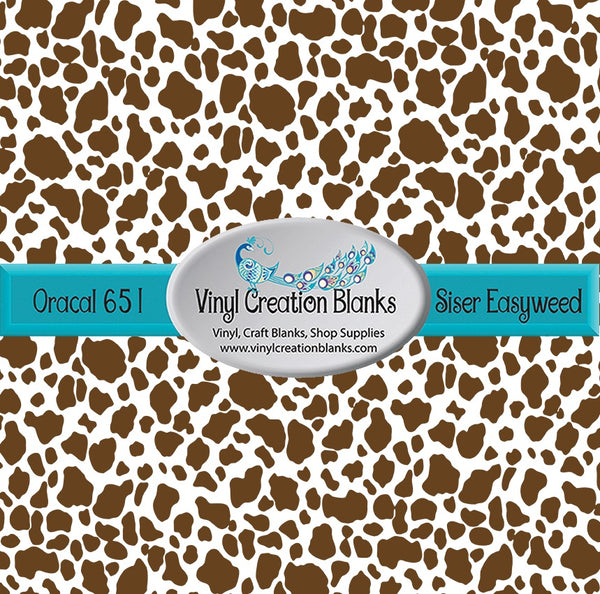 Brown Cow Pattern Permanent Vinyl or Heat Transfer Vinyl (HTV) for All Vinyl Cutters