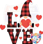 Buffalo LOVE with Gnomes and Hearts HTV or Sublimation Transfer
